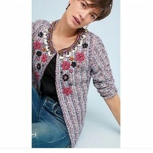 Anthropolgie Beaded Embroidered Sweater Jacket